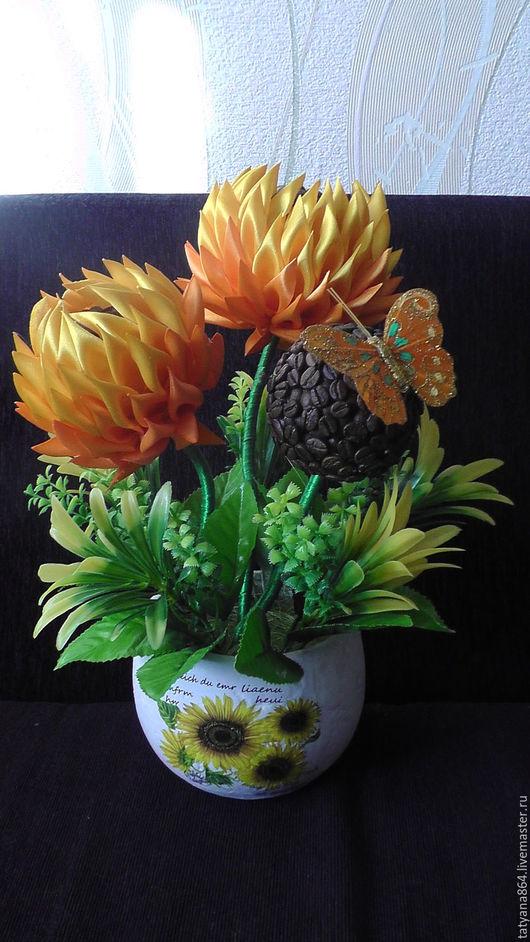 Интерьерные композиции ручной работы. Ярмарка Мастеров - ручная работа. Купить Осенний каприз. Handmade. Оранжевый, желтый цвет, топиарий