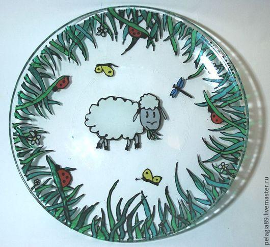 """Тарелки ручной работы. Ярмарка Мастеров - ручная работа. Купить """"На выпасе"""". Handmade. Трава, луг, барашек, коровка, свинья"""