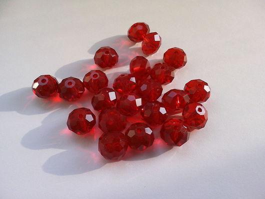 Для украшений ручной работы. Ярмарка Мастеров - ручная работа. Купить Бусина рондель, красного цвета, 8 мм. Handmade.