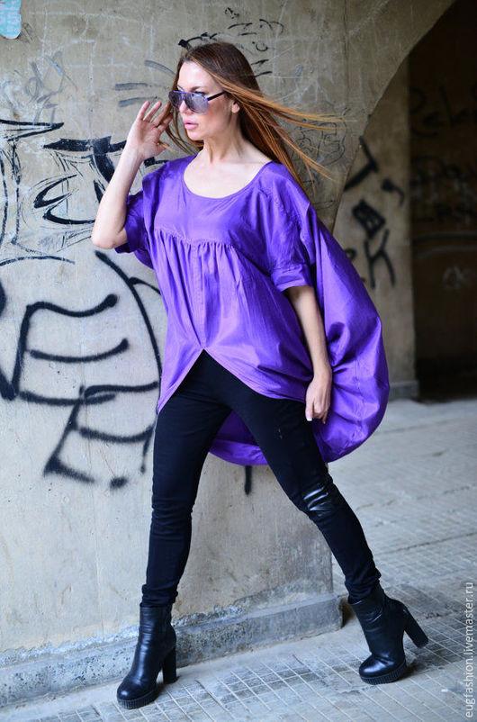 Фиолетовая блузка. Модная блузка. Блузка из хлопка. Ручная работа.Блузка. Хлопок. Мода. Блузка.