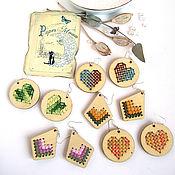 Украшения handmade. Livemaster - original item Wooden Earrings with Cross Stitch Thread Rainbow Vintage. Handmade.