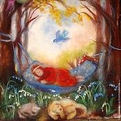 """Подарки к праздникам ручной работы. Ярмарка Мастеров - ручная работа Картина из шерсти """"Мое время"""". Handmade."""