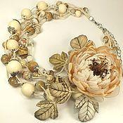 Украшения handmade. Livemaster - original item Sugar - Beige Etude. Necklace, brooch flower. Handmade.