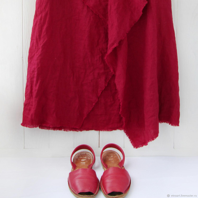Юбка в стиле бохо из льна вишневого цвета, Куклы и пупсы, Томск,  Фото №1
