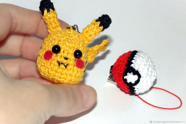 Keychain Pikachu knitted. Pokebol keychain. Pokemon, Souvenirs, Sarapul,  Фото №1