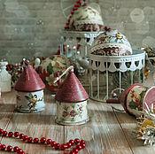 Подарки к праздникам handmade. Livemaster - original item Balls and Christmas houses. Decoupage Christmas decorations. Handmade.