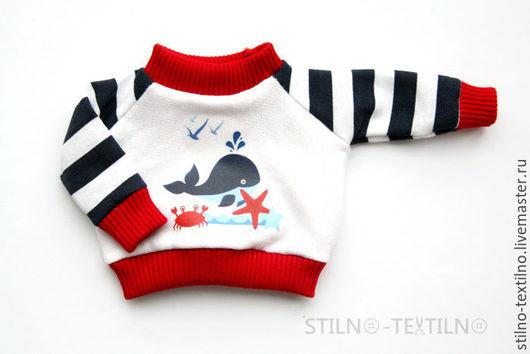 """Одежда для кукол ручной работы. Ярмарка Мастеров - ручная работа. Купить Свитшот для куклы """"Морской стиль"""" Кит. Handmade."""