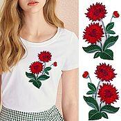 Материалы для творчества handmade. Livemaster - original item Embroidery in the form of red flowers, 2 PCs.. Handmade.