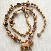 """Украшения handmade. Livemaster - original item Бусы """"Царь зверей"""" из дерева и ореховой скорлупы. Handmade."""