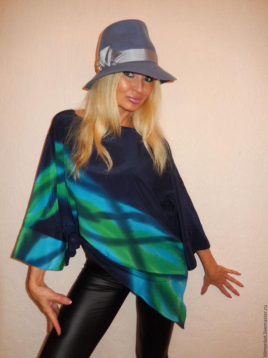 Блузки ручной работы. Ярмарка Мастеров - ручная работа. Купить Блуза- Загадочная.... Handmade. Тёмно-синий, натуральный шелк, асимметрия