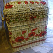 Для дома и интерьера handmade. Livemaster - original item Wicker basket for linen with red poppies. Handmade.