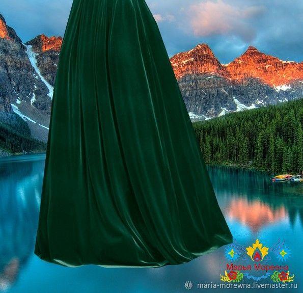изумрудная бархатная юбка `Хвоя`