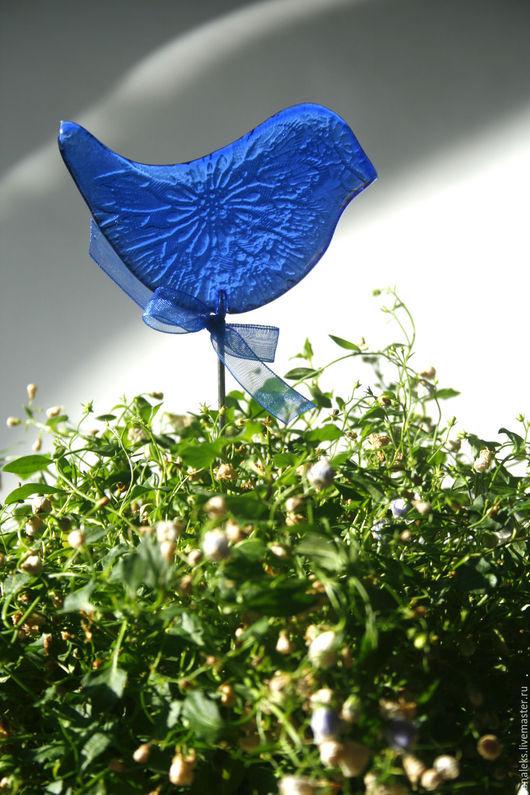 """Украшения для цветов ручной работы. Ярмарка Мастеров - ручная работа. Купить """"Синяя птица"""" декор для цветочных горшков, фьюзинг. Handmade."""