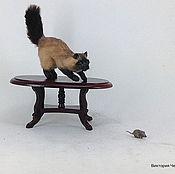 """Куклы и игрушки ручной работы. Ярмарка Мастеров - ручная работа Миниатюра """"Кот с мышкой"""". Handmade."""