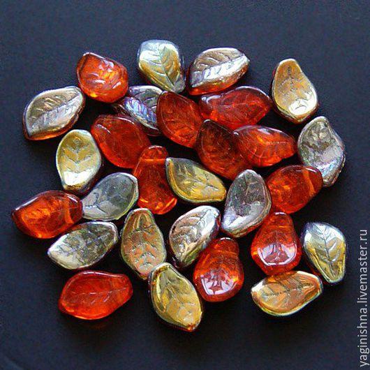 Для украшений ручной работы. Ярмарка Мастеров - ручная работа. Купить Чешское стекло, красные бусины листики, бусины листики стекло. Handmade.