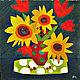 """Картины цветов ручной работы. Ярмарка Мастеров - ручная работа. Купить Картина """"Времена года"""". Handmade. Букет, тюльпаны, горошек"""