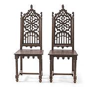 Винтаж ручной работы. Ярмарка Мастеров - ручная работа Пара резных стульев с высокими спинками в духе неоготики  8БР0303. Handmade.