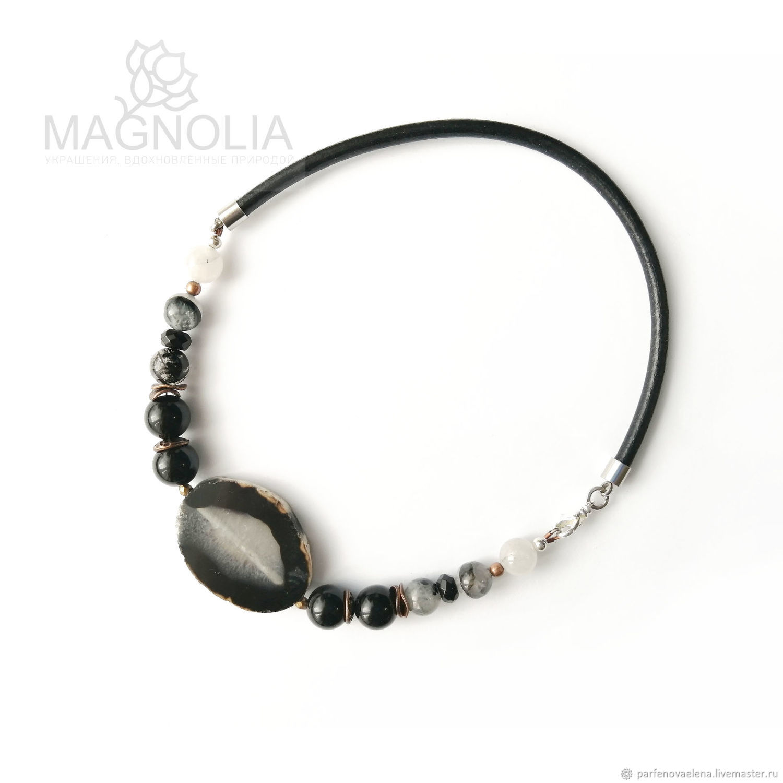 Agate necklace ' Andromeda Nebula', Necklace, Omsk,  Фото №1