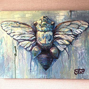 Картины и панно ручной работы. Ярмарка Мастеров - ручная работа Цикада на мази. (муха). Handmade.