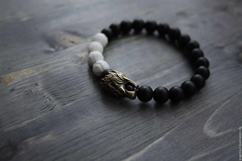 Bracelet of natural stone with lion head made of bronze Handicrafts, Bead bracelet, Volgograd,  Фото №1