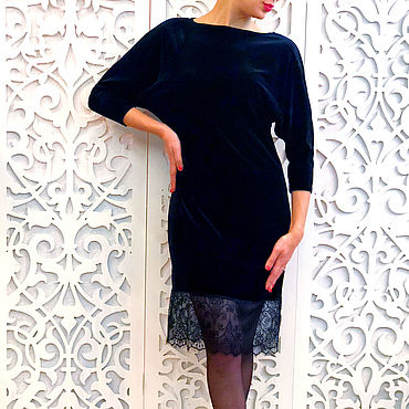 Одежда ручной работы. Ярмарка Мастеров - ручная работа Платье чёрный бархат 150. Handmade.