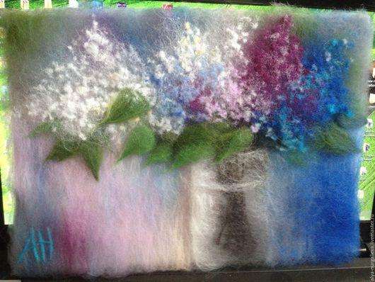 Картины цветов ручной работы. Ярмарка Мастеров - ручная работа. Купить Сирень. Handmade. Сиреневый, картина в подарок, картина из войлока