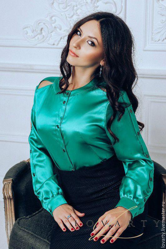 Блузки ручной работы. Ярмарка Мастеров - ручная работа. Купить Блуза шелковая  атласная. Handmade. Зеленый, блуза женская