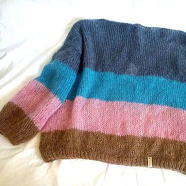 Одежда ручной работы. Ярмарка Мастеров - ручная работа Вязаный свитер из мохера в стиле ColorBlock. Handmade.