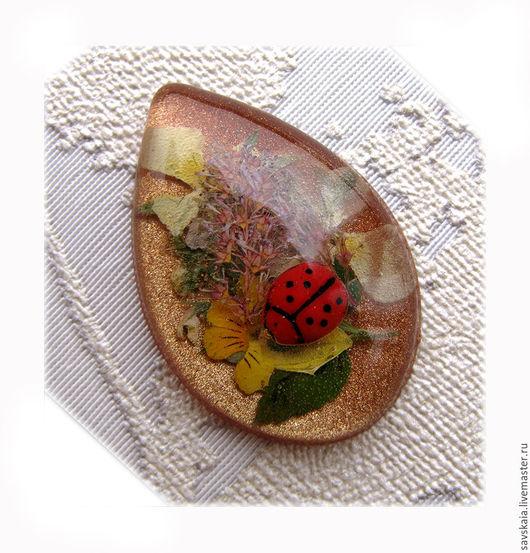 Кабошон капля цветочная композиция смола