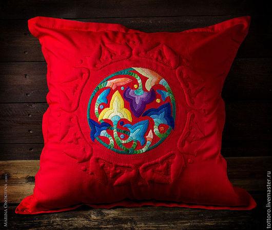 Текстиль, ковры ручной работы. Ярмарка Мастеров - ручная работа. Купить Красный сад. Handmade. Ярко-красный, гладь, яркий