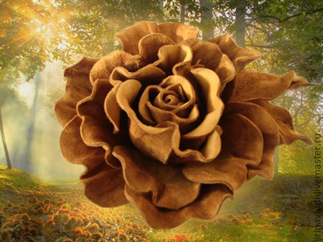 jewelry leather brooch, rose flower brooch. brooch hairpin flower, artificial flowers rose, brown rose brooch, hair clip rose brooch, sand color barrette, brooch Golden color suede,