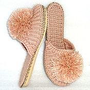 Тапочки ручной работы. Ярмарка Мастеров - ручная работа Тапочки: Вязаные на подошве, полушерсть, розовый. Handmade.