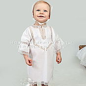 Работы для детей, handmade. Livemaster - original item Baptismal set with bonnet. Handmade.