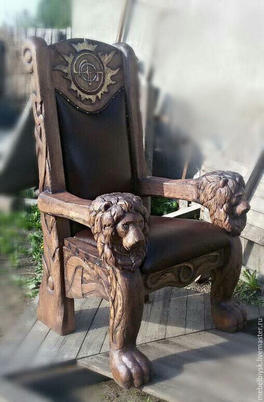 Мебель ручной работы. Ярмарка Мастеров - ручная работа. Купить Кресло. Handmade. Коричневый, состаренное дерево, кожа натуральная, Мебель