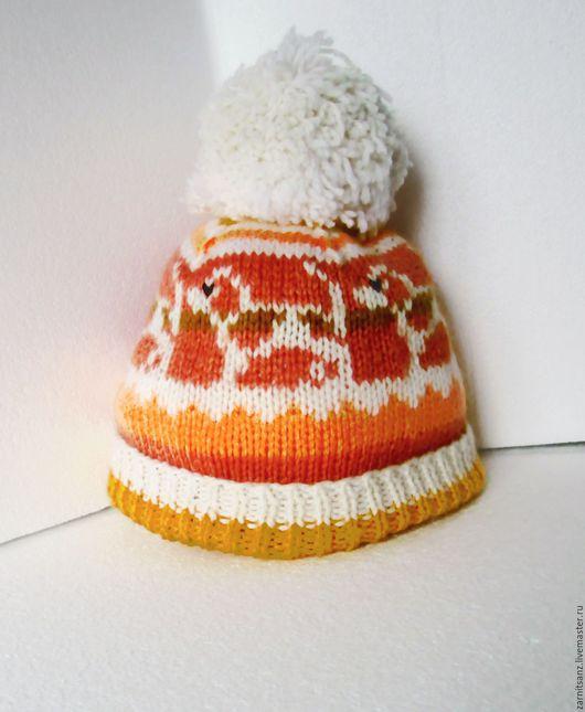 """Шапки и шарфы ручной работы. Ярмарка Мастеров - ручная работа. Купить шапочка  детская """"Рыжие собаки """" на весну шерстяная спицами. Handmade."""
