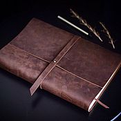 Канцелярские товары handmade. Livemaster - original item Large leather notebook A4 genuine leather Crazy Horse. Handmade.