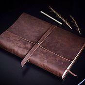 Notebooks handmade. Livemaster - original item Large leather notebook A4 genuine leather Crazy Horse. Handmade.