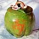 """Конфетницы, сахарницы ручной работы. Ярмарка Мастеров - ручная работа. Купить Сахарница """"Зеленое яблоко"""". Handmade. Зеленый, сахарница"""