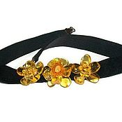 Украшения handmade. Livemaster - original item Chalker amber flower black choker with the colors of natural stone. Handmade.