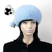 Аксессуары handmade. Livemaster - original item Soft blue beret from the fur of the European mink. Art.IA-12. Handmade.