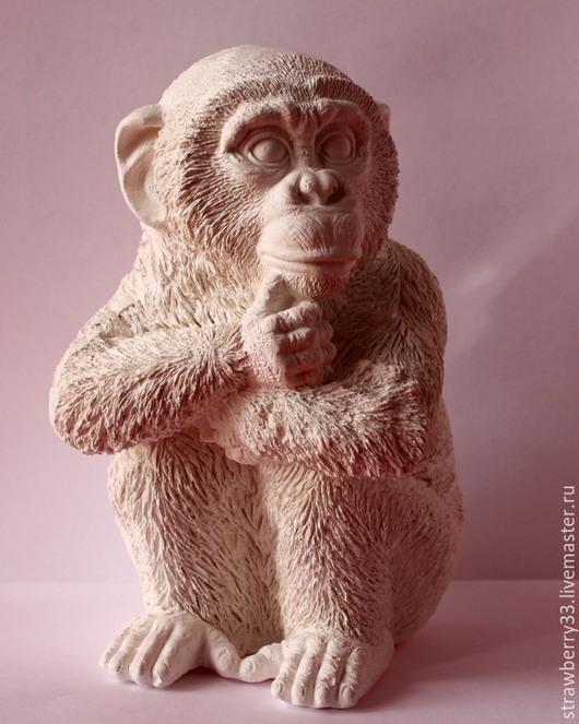Статуэтки ручной работы. Ярмарка Мастеров - ручная работа. Купить Гипсовая обезьяна (20 см). Handmade. Белый, обезьяны, статуэтки