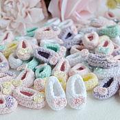 Материалы для творчества handmade. Livemaster - original item Knitted booties with bows mini scrapbook decor. Handmade.