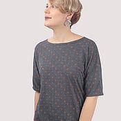 Одежда handmade. Livemaster - original item T-shirt viscose thin dark blue in a circle. Handmade.