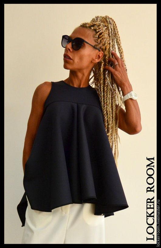 Дизайнерская ассиметричная блуза с драпировкой. Стильная и элегантная модель. Уникальный дизайн.