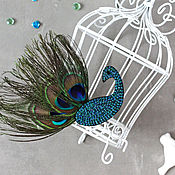 Украшения handmade. Livemaster - original item Spectacular embroidered brooch Peacock. Handmade.