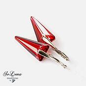 Earrings handmade. Livemaster - original item Silver earrings with Swarovski crystals, Red earrings with Swarovski. Handmade.