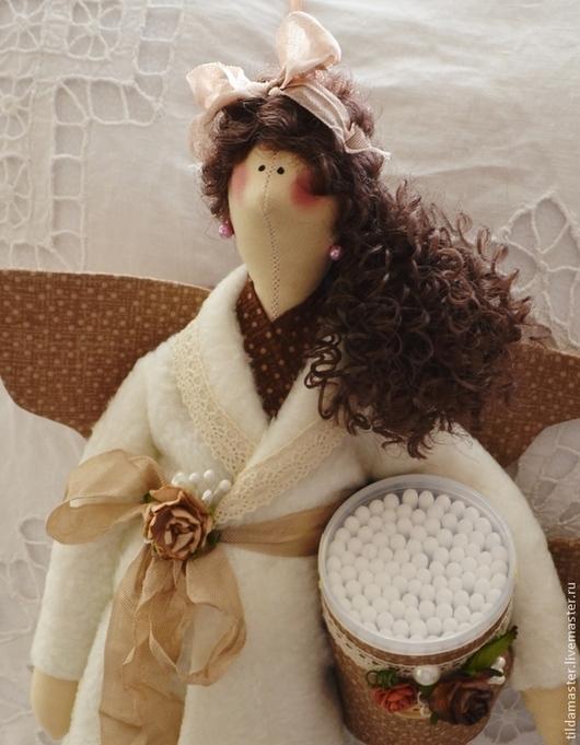 Ванная комната ручной работы. Ярмарка Мастеров - ручная работа. Купить Хранительницы ватных дисков и палочек. Handmade. Бежевый, ангел
