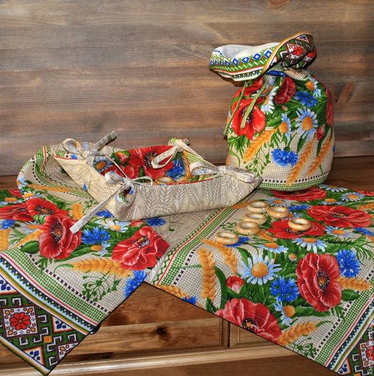 Текстиль, ковры ручной работы. Ярмарка Мастеров - ручная работа. Купить Столовый набор, дорожка на стол и торба Маки. Handmade.