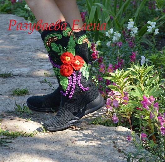 """Обувь ручной работы. Ярмарка Мастеров - ручная работа. Купить сапожки зимние""""маки"""". Handmade. Черный, шерсть, зимние сапоги"""