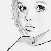 Картины и панно ручной работы. Ярмарка Мастеров - ручная работа Портрет по фото графика. Тушь-перо, карашдаш. Handmade.